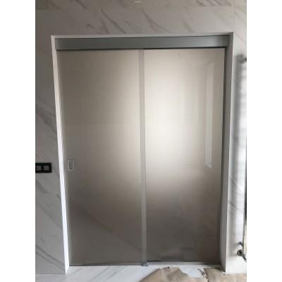 Стеклянные раздвижные двери двухстворчатые