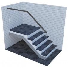 Стеклянные ограждения для лестницы на профиле с верхним деревянным поручнем