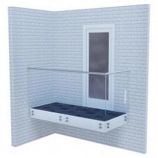 Стеклянные ограждения для балкона на точках со стальным поручнем