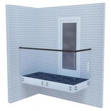 Стеклянные ограждения для балкона на точках с деревянным поручнем