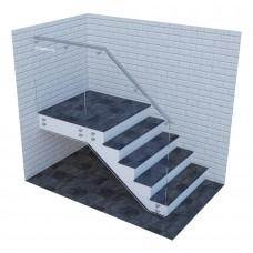 Стеклянные ограждения для лестниц на точках с выносным поручнем