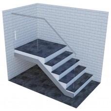 Стеклянные ограждения для лестницы на профиле с верхним стальным поручнем