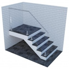 Стеклянные ограждения для лестницы на мини-стойках с верхним круглым поручнем